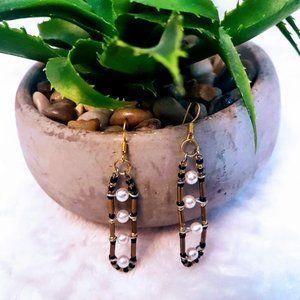 #J13 Gold & Black Beaded Earrings